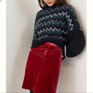 Anthropologie Montie Velvet Mini Skirt -Sz 8 (NWT)
